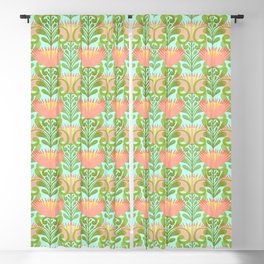 King Protea Flower Pattern - Turquoise Blackout Curtain