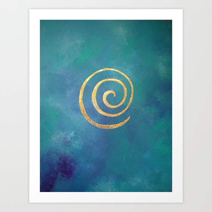 Philip Bowman Infinity Bright Blue And Gold Abstract Modern Art Painting Art Print