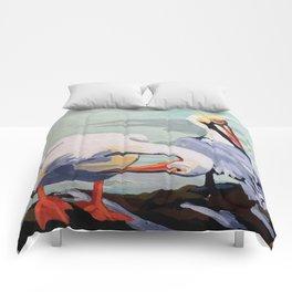Preening Pelicans Comforters