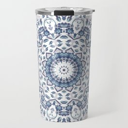 Grayish Blue White Flowers Mandala Travel Mug