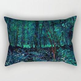 Vincent Van Gogh Trees & Underwood Teal Green Rectangular Pillow