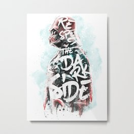 Respect the Dark Side Vader Metal Print