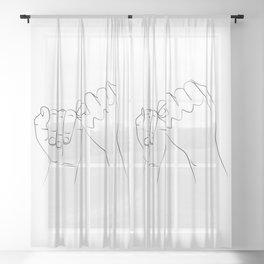 promis juré , Pinky Swear , One Line Drawing Print, Black White Hands Artwork, Sheer Curtain