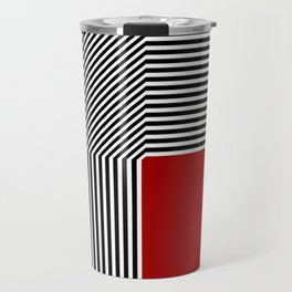 Geometric abstraction: black and white stripes, red square Travel Mug