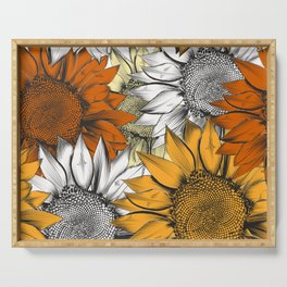 Beautiful pattern from hand drawn sunflowers Serving Tray