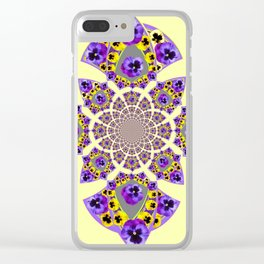 GEOMETRIC  PURPLE & YELLOW  PANSIES ON  CREAM COLOR Clear iPhone Case