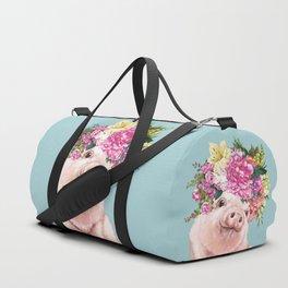 Flower Crown Baby Pig in Blue Duffle Bag