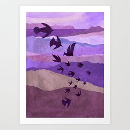 Purple Mountains Birds Take Flight Art Print