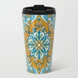 GOLDEN -GREEN VECTOR MANDALA Travel Mug