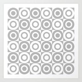 Mid Century Square and Circle Pattern 541 Gray Art Print