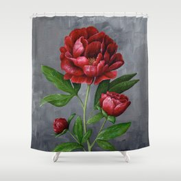 Red Peony Flower Painting Shower Curtain