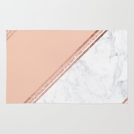 Modern stylish rose gold glitter geometric stripes blush pink white marble color block Rug