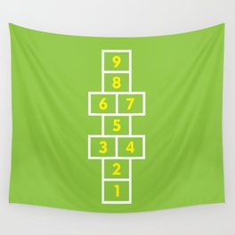 Hopscotch Green Wall Tapestry