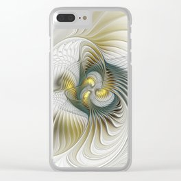 Noble And Golden, Abstract Modern Fractal Art Clear iPhone Case