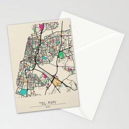 Colorful City Maps: Tel Aviv, Israel Stationery Cards