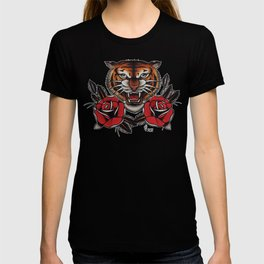 Old School Tiger and roses - tattoo T-shirt