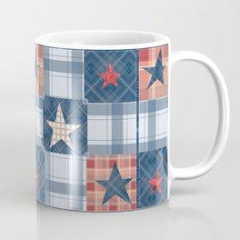 Blue denim plaid patchwork . Coffee Mug