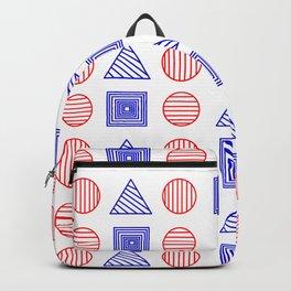 Art print Red White Blue Geometric  Backpack
