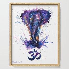 Watercolor Elephant Om Yoga Splatters Serving Tray