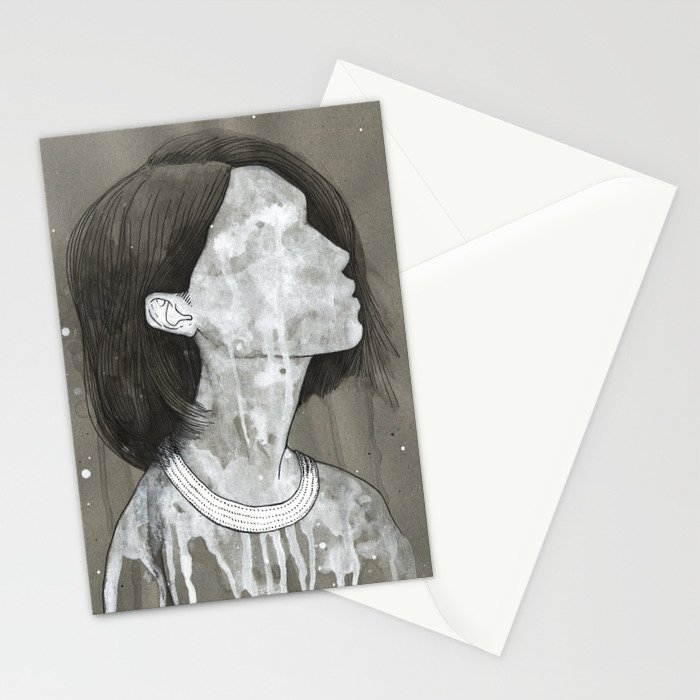 girl with a silver trabzon hasırı necklace Stationery Cards