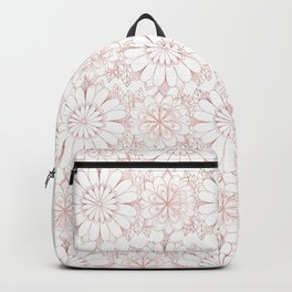 Pink rose hand drawn abstract modern floral Backpack