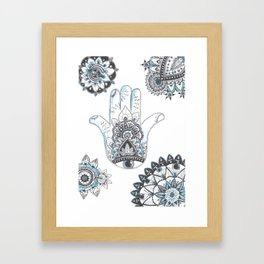 henna hand blue Framed Art Print
