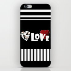 Valentine's day . Love. Black and white striped background . iPhone & iPod Skin