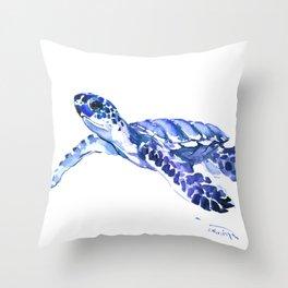 Indigo blue Sea Turtle, swimming turtle blue artwork beach house decor Throw Pillow