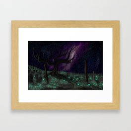 Moonlight Graveyard Framed Art Print