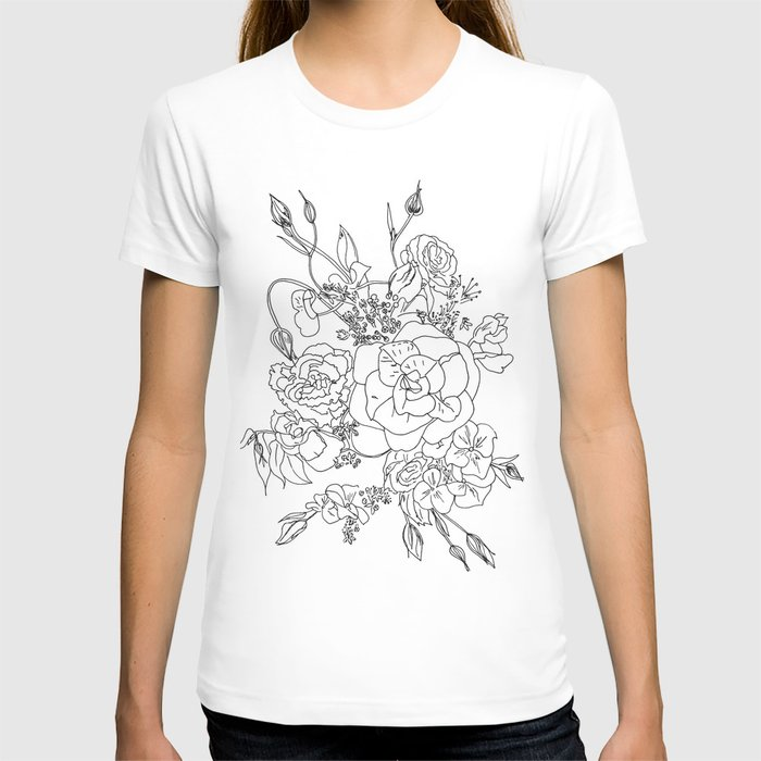 Floral Ink - Black & White T-shirt