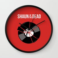 shaun of the dead Wall Clocks featuring Shaun of the Dead - Record by Nick Kemp