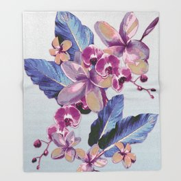 Tropical Vintage Plumerias Throw Blanket