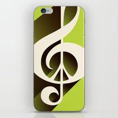 Lime Green Retro Music & Peace  iPhone & iPod Skin