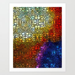 Colorful Stone Rock'd Abstract Art By Sharon Cummings Art Print