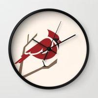 cardinal Wall Clocks featuring Cardinal by Jess Mass Design