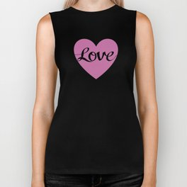 Love Script Pink Heart Design Biker Tank