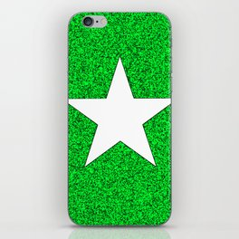 white star on green and black abstract background iPhone Skin