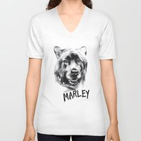 marley V-neck T-shirts featuring Marley by Megan Barr