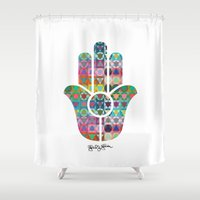 hamsa Shower Curtains featuring Hamsa  by Gabriel J Galvan