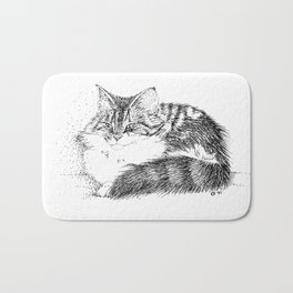 Maine Coon Cat - Pen and Ink Bath Mat