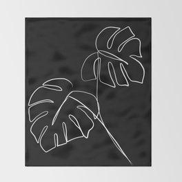 Monstera minimal - black Throw Blanket