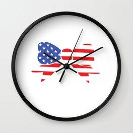 America Bow Graphic Patriotic 'Merica T-shirt Wall Clock