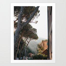 Sunset dust of Paraggi Bay   Italian Riviera travel photography, iconic wall art Art Print