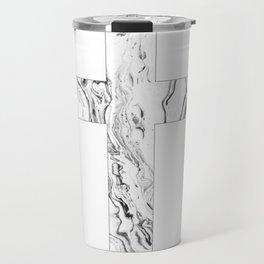 Christian cross marble black & white Travel Mug