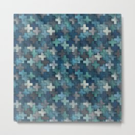 Watercolor cross tiles in navy blue and turquoise Metal Print