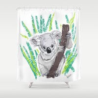 koala Shower Curtains featuring KOALA by Andrea Lacuesta Art