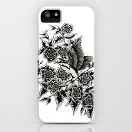 Bird with flowers iPhone Case