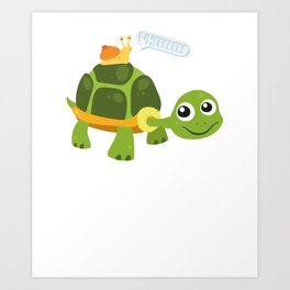 Adorable Snail Riding Turtle Yelling Whee Cute Art Print