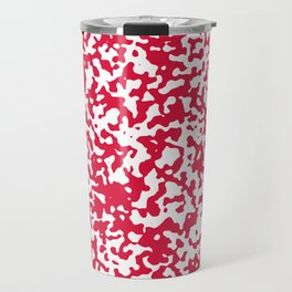 Large Spots - White and Crimson Red Travel Mug