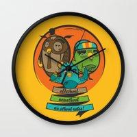 school Wall Clocks featuring school by blablasah